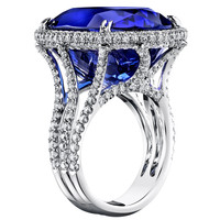 GIA Cert Tanzanite Diamond Gold Ring