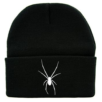 Halloween Black Widow Spider Cuff Beanie Knit Cap Horror Alternative Clothing