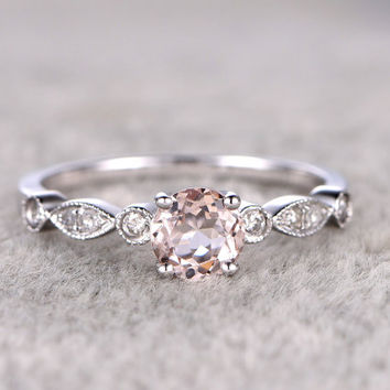 Morganite Engagement ring White gold,Diamond wedding band,14k,5mm Round Cut,Gemstone Promise Bridal Ring,Art Deco matching band,ball-prong