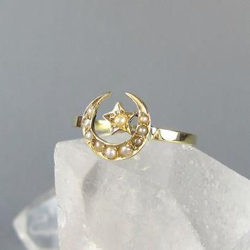 VICTORIAN crescent moon and star antique conversion ring, pearl and gold ring, unique