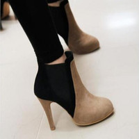 Ankle High Round Toe Thin High Heels Women's Winter Boots