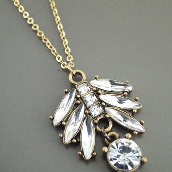Layering Necklace - Vintage Inspired Necklace - Crystal Necklace - Gold Necklace - Leaf Necklace - handmade jewelry