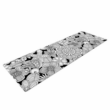 "Julia Grifol ""Welcome White Birds"" Black Floral Yoga Mat"