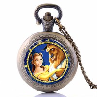 2017 Beauty and the Beast Cartoon Quartz Pocket Watch Analog Pendant Necklace Chain for Boys Girls