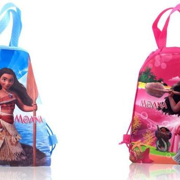 Novelty 12PCS Moana Cartoon Drawstring Backpack Bags,Non-Woven Fabric Multipurpose Bags 34*27cm Kids School Party Bags