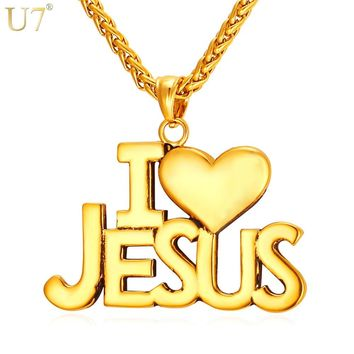 """U7 Jesus Heart Necklace For Men/Women Gift Gold Color Stainless Steel Christian Jewelry """"i Love Jesus"""" Pendant & Chain P870"""