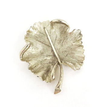 Vintage BSK Leaf Brooch Silver Tone Pin, Christmas Gift For Her