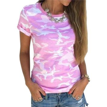 New Arrivals Summer Girls Casual T-Shirts Women T-Shirts Top Casual Slim Camouflage T Shirt Female Plus Size Women Tops GV569