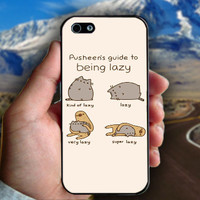 Pusheen The Cat to being Lazy - Print on hard plastic case for iPhone case. Select an option