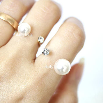 double open ring, white pearl ring, open pearl ring, adjustable pearl ring, pearl ring,  pearl, adjustable ring, woman ring, bridesmaid ring