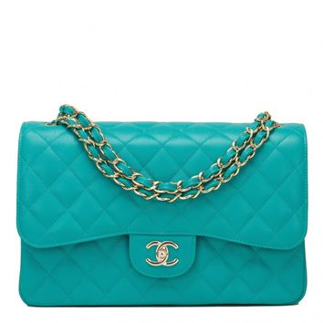 Chanel Turquoise Quilted Caviar Jumbo Classic Double Flap Bag