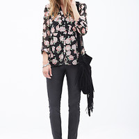 LOVE 21 Rose Print Pocket Blouse Black/Pink Medium