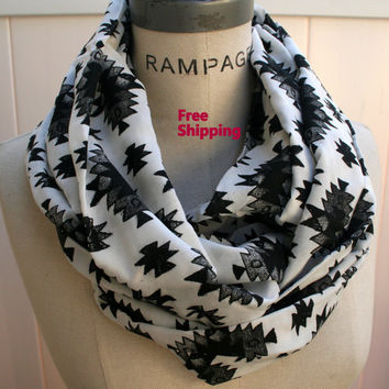 Black White Grey Tribal Print Infinity Scarf Aztec Scarves Hipster Circle Scarf FREE SHIPPING Women Scarves  - By PiYOYO