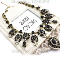 New Fashion Brand Luxury Black Crystal Statement Necklaces Tear Drop Rhinestone Vintage Choker Necklace Women Jewelry