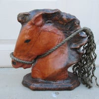 Vintage Leather Wrapped Horse Head Statue Brown Horse Bust Cowboy Western Southwestern Home Decor