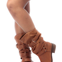 Tan Faux Leather Cross Strap Calf Length Riding Boots