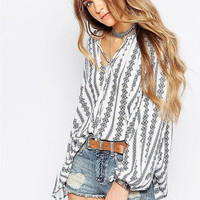 White Printed V-Neck Long Sleeve Loose Blouse