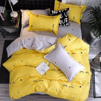 Jeefttby Home Textiles Yellow Eyelash  Print Kids Bedding Set King Size Adult Duvet Cover And Pillowcases Brief Style Bed Sheets