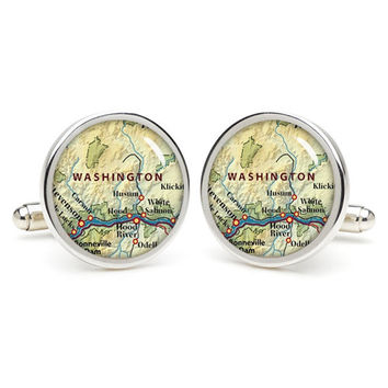 Washington  city map cufflinks , wedding gift ideas for groom,gift for dad,great gift ideas for men,groomsmen cufflinks,silver cufflinks