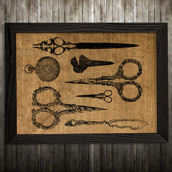 Scissors art Victorian print Antique print Burlap poster BLP914