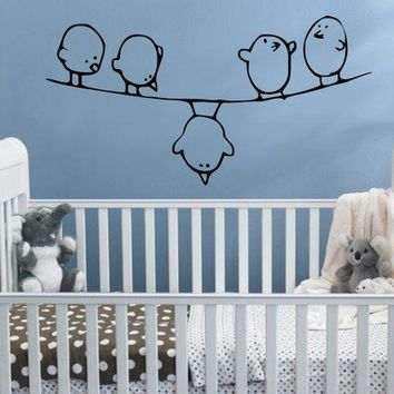 Cartoon Birds On A Wire Vinyl Wall Decal Wall by edgelinegraphics