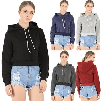 New Ladies Crop Hoodie Women Pull Over Plain Casual Short Hooded Sweat Shirt Top Autumn&Winter Gift