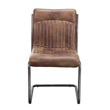 Ansel Dining Chair - Light Brown Distressed Top Grain Leather (set of 2)