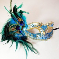 Peacock Feathers Collection Venetian Mardi Gras Masquerade Mask for Women