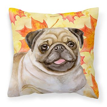 Fawn Pug Fall Fabric Decorative Pillow BB9979PW1818