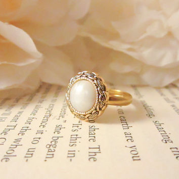 Vintage Button Ring, Gold chain link adjustable ring, cocktail statement ring, pearl, bridesmaid gift, spring jewelry, gold plated ring