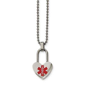 Stainless Steel Small Heart Medical Pendant Necklace 24in