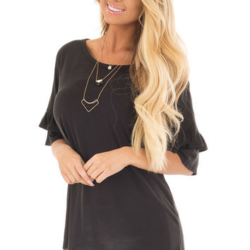 Black Top with Ruffle Detail Sleeves