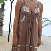 Santa Maria Mocha Sleeveless Dress With Embroidered & Ruffle Details