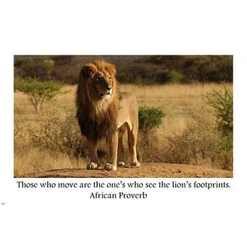 Motivational LION FOOTPRINTS POSTER African Proverb 24X36 ANIMAL wisdom