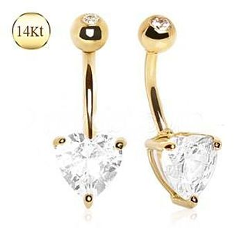 14Kt Yellow Gold Navel Ring with Large Clear Heart Prong Set CZ