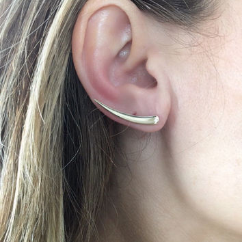Beautiful 14k Gold Crawler Cuff/ Wrap Earring-Climbers-Wedding Gift-Anniversary-Bridal-Trendy Earring