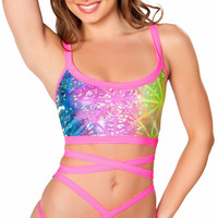 Diamond Hologram Rave Latter Top