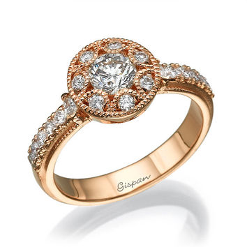 Antique Engagment Ring -14k Rose Gold Diamond Ring With Halo Setting And Milgrain
