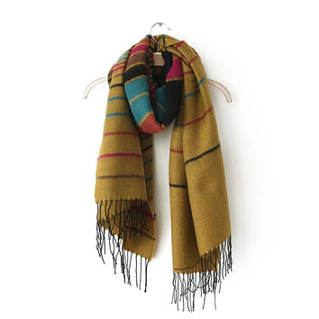 Color Block Striped Cashmere Tassel Fringed Wrap Shawl