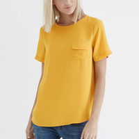 Tops & Blouses | Yellow PLAIN POCKET TEE | Oasis