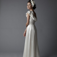 FANCY NEW YORK Wedding Dresses**1930's Style Silk Charmeuse Ruffle One Shoulder Demure Wedding Dress - 4 to 20 - Unique Vintage - Bridesmaid & Wedding Dresses