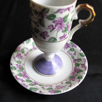 Vintage / Circa 1960's / Violet Pattern / Tea Cup and Saucer / Lavender Flowers