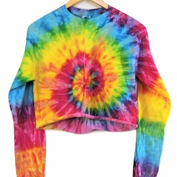 Bright Rainbow Tie-Dye Cropped Long Sleeve Tee