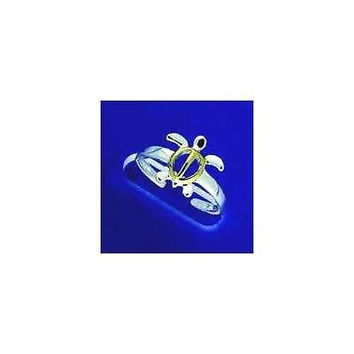 STERLING SILVER 925 YELLOW GOLD PLATED 2 TONE HAWAIIAN HONU TURTLE TOE RING