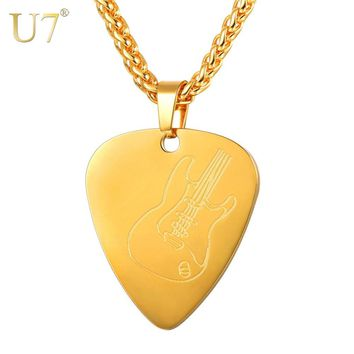 U7 Guitar Pick Pendant Necklace Stainless Steel Collares Love Shape Guitar Pattern Chain for Women Men Girls Boys Gift  P1191