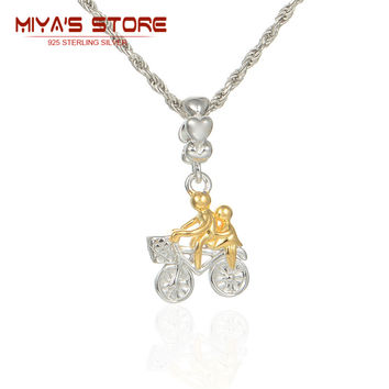 925 sterling silver 14k gold bicycle charm 2015 travel beads bracelets necklaces pendants jewerly diy making s223