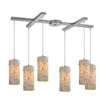 10442/6 Capri 6 Light Pendant In Satin Nickel And Capiz Shell - Free Shipping!