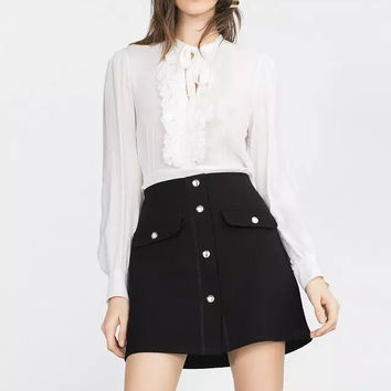 Button Pockets Stretch Mini Skirt