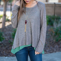 Long Sleeves Chiffon Paneled Asymmetric Knit Sweater in Gray