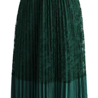 Lace the Grace Pleated Skirt in Emerald Green